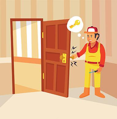 """alt=""""image d'un serrurier qui répare une porte"""""""